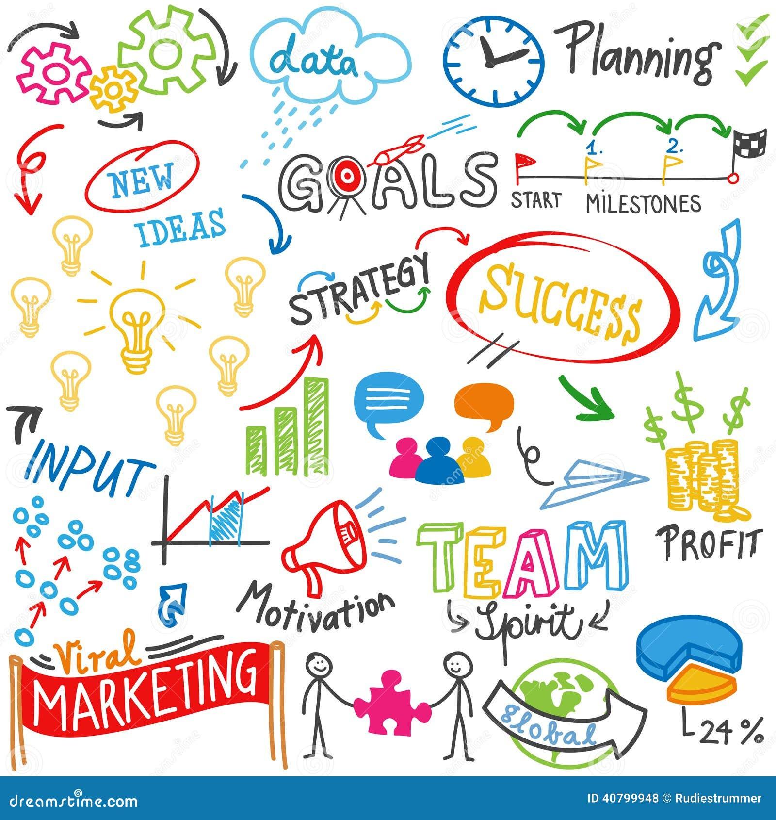 Business Success Strategy Idea Doodles Scribbles Stock