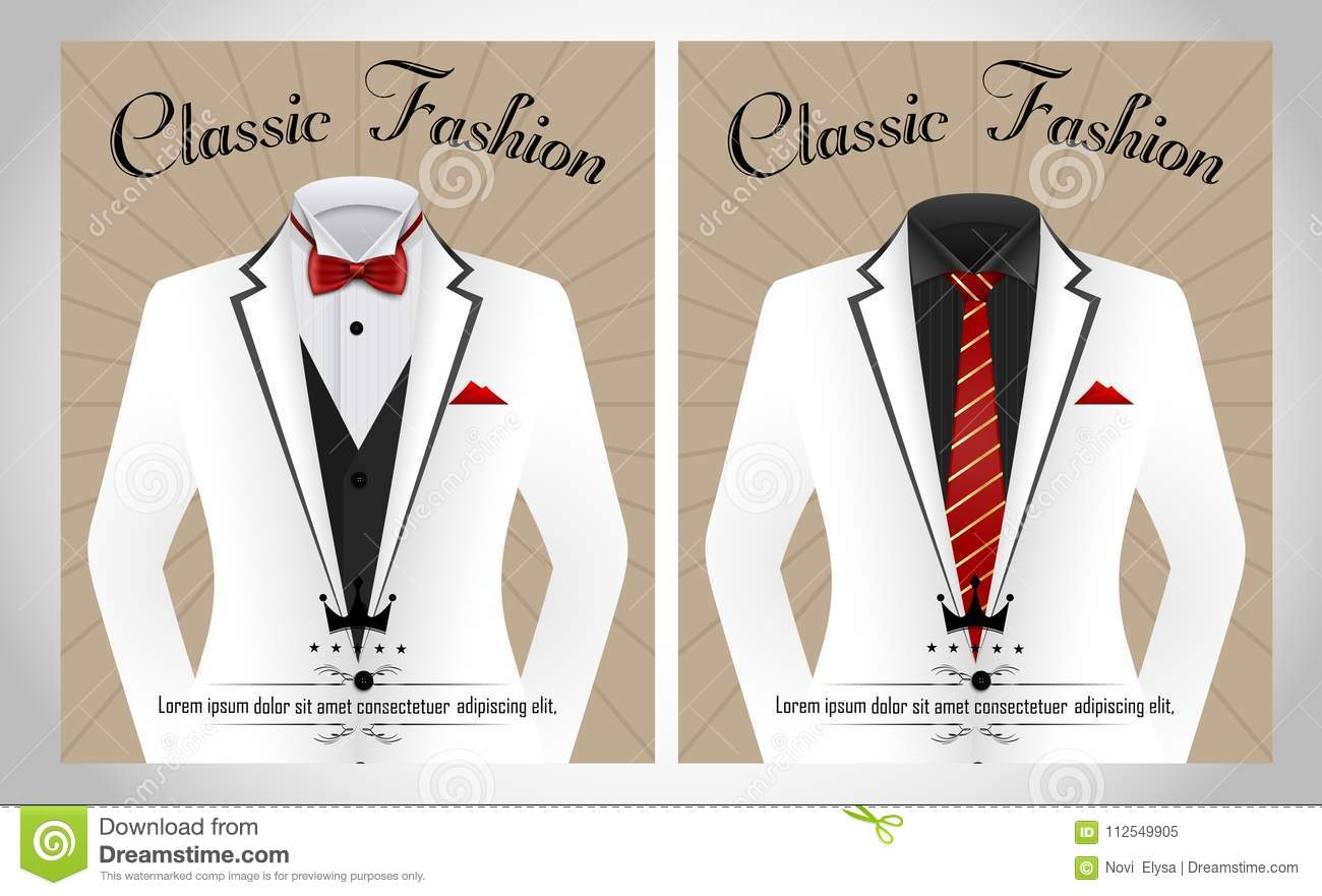 Business Suit Template With Red Tie And Black White Shirt Banner
