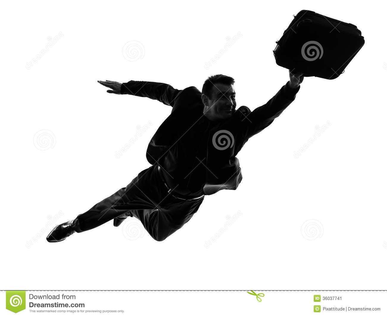Business Super Man Flying Silhouette Stock Image - Image ...