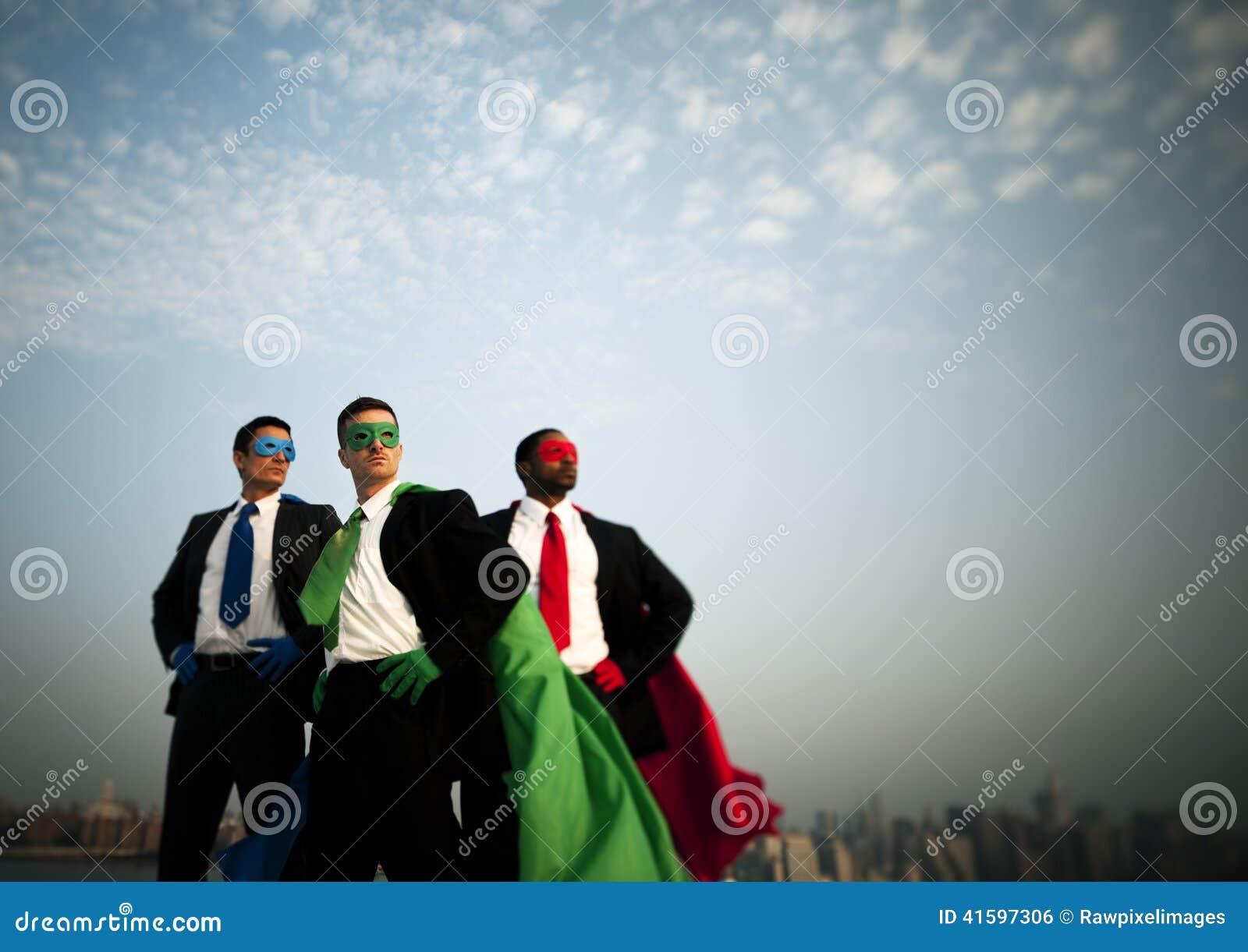 Business Superheroes at City Skyline