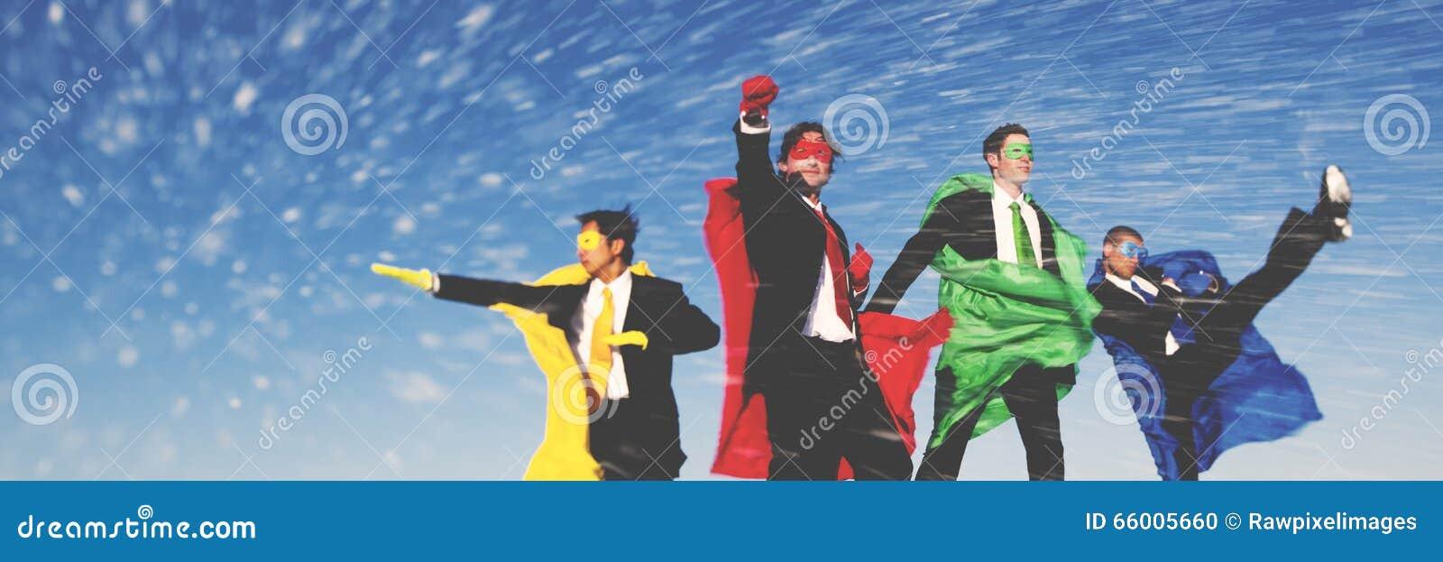 Business Superheroes Winter Snow Rescue Concept