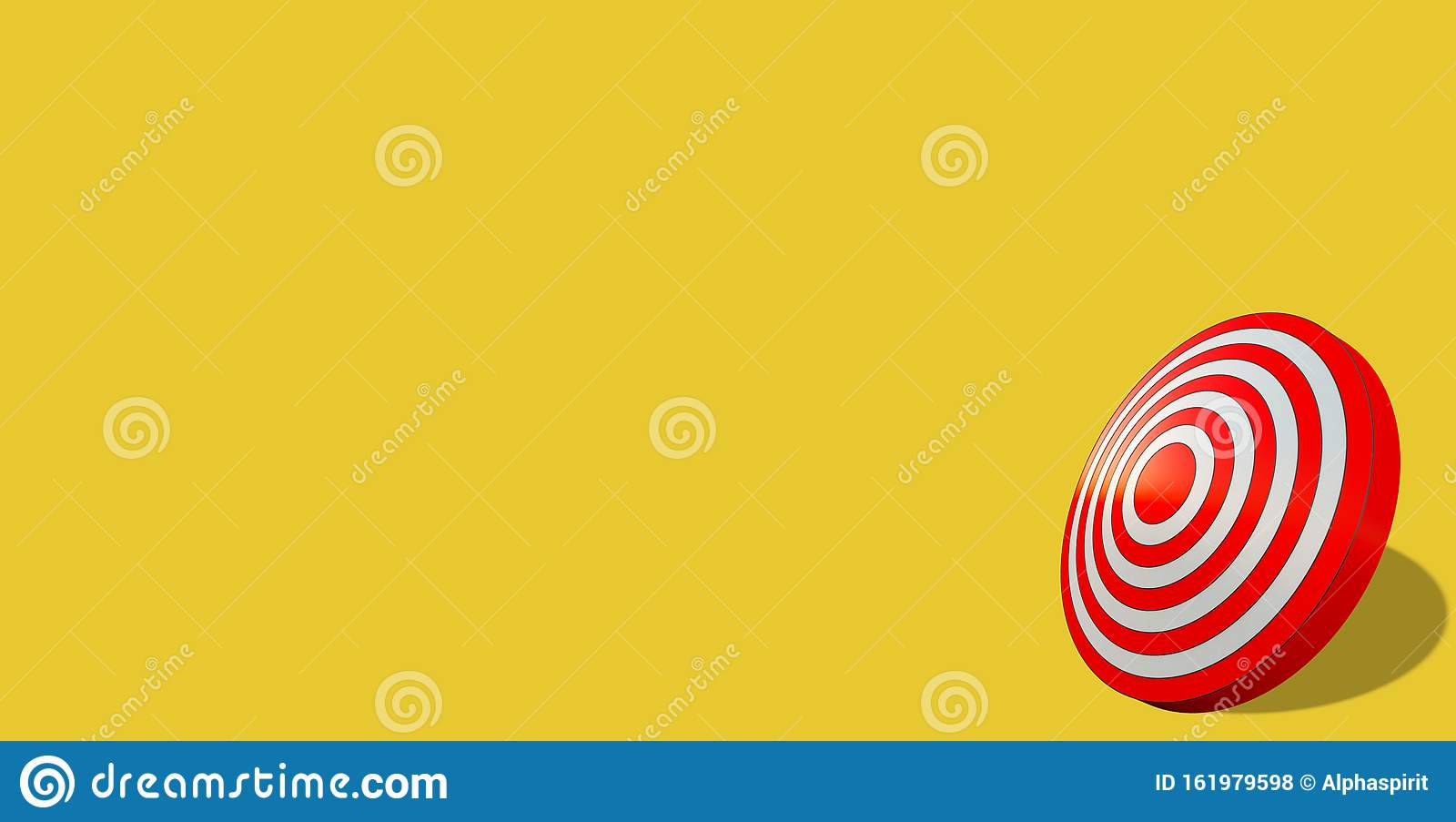 Business target achievement concept. Red target isolated on yellow background