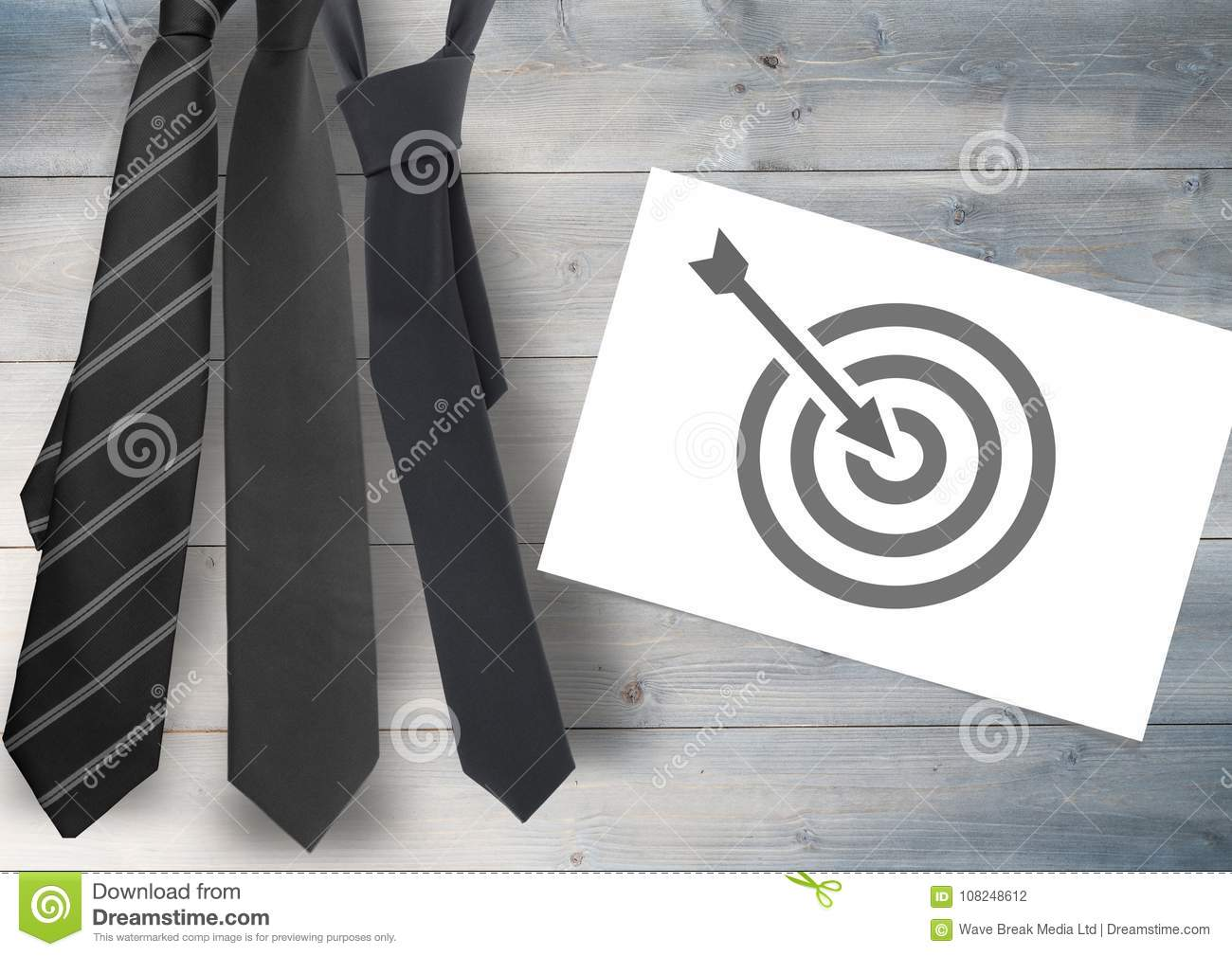 Business Target Icon On White Card With Tie\'s Stock Photo - Image of ...