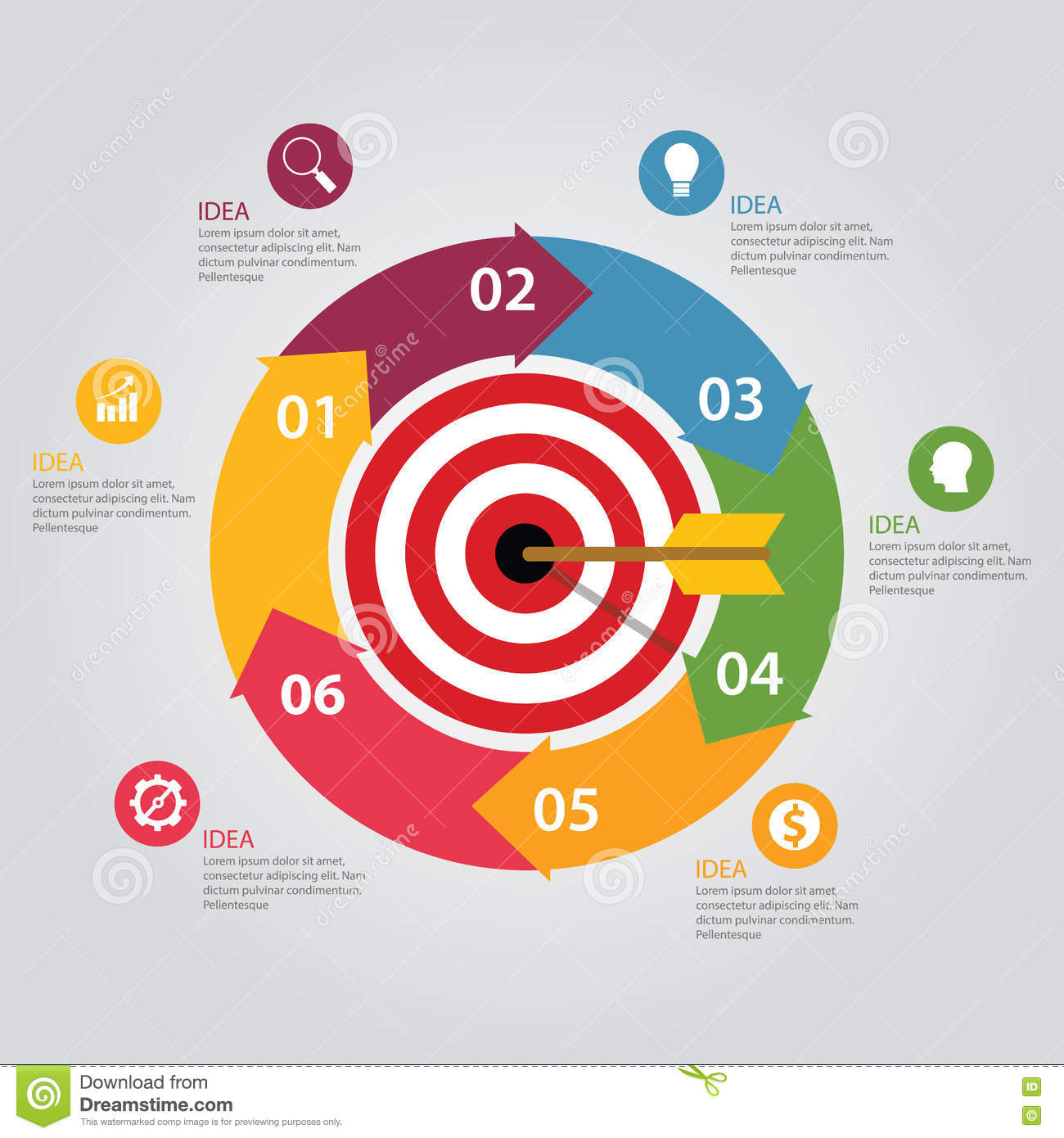 Business Target Infographic Dart Board Arrow Concept Of Goals ... on