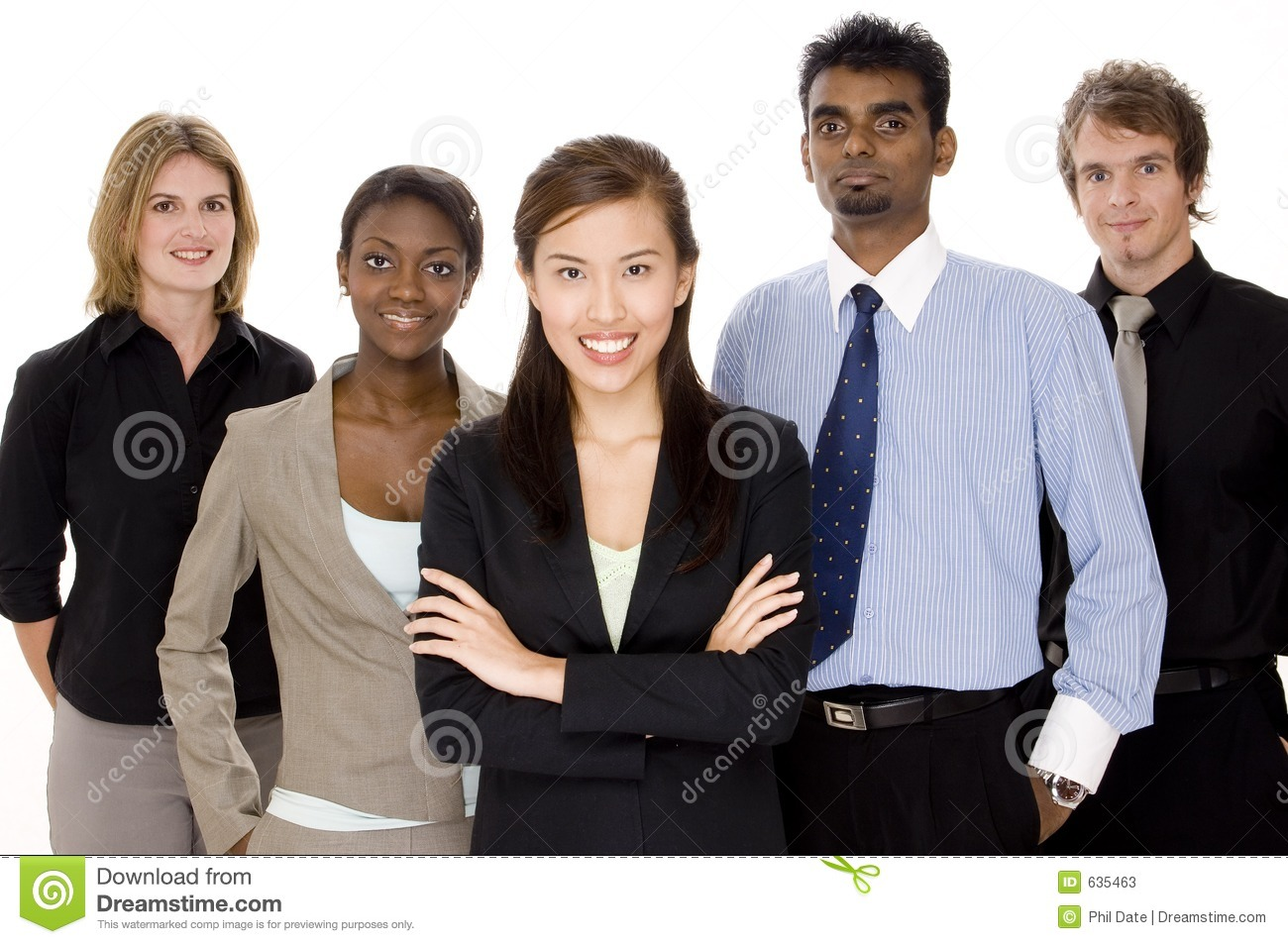 Five people make up a diverse business team. Business Meeting Handshake