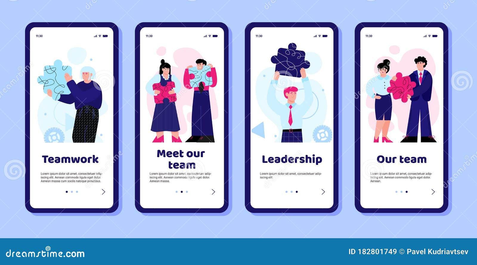 Business Team App Set On Phone Screens Teamwork And Leadership Mobile Stock Vector Illustration Of Screen Leadership 182801749