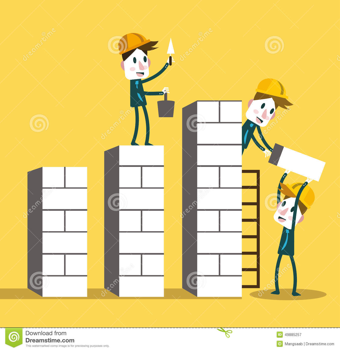 Business Team Building Higher Growth Graph Teamwork And Growth Business Concept Stock Photo