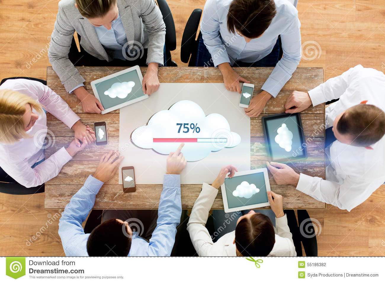 Business team with computers cloud computing