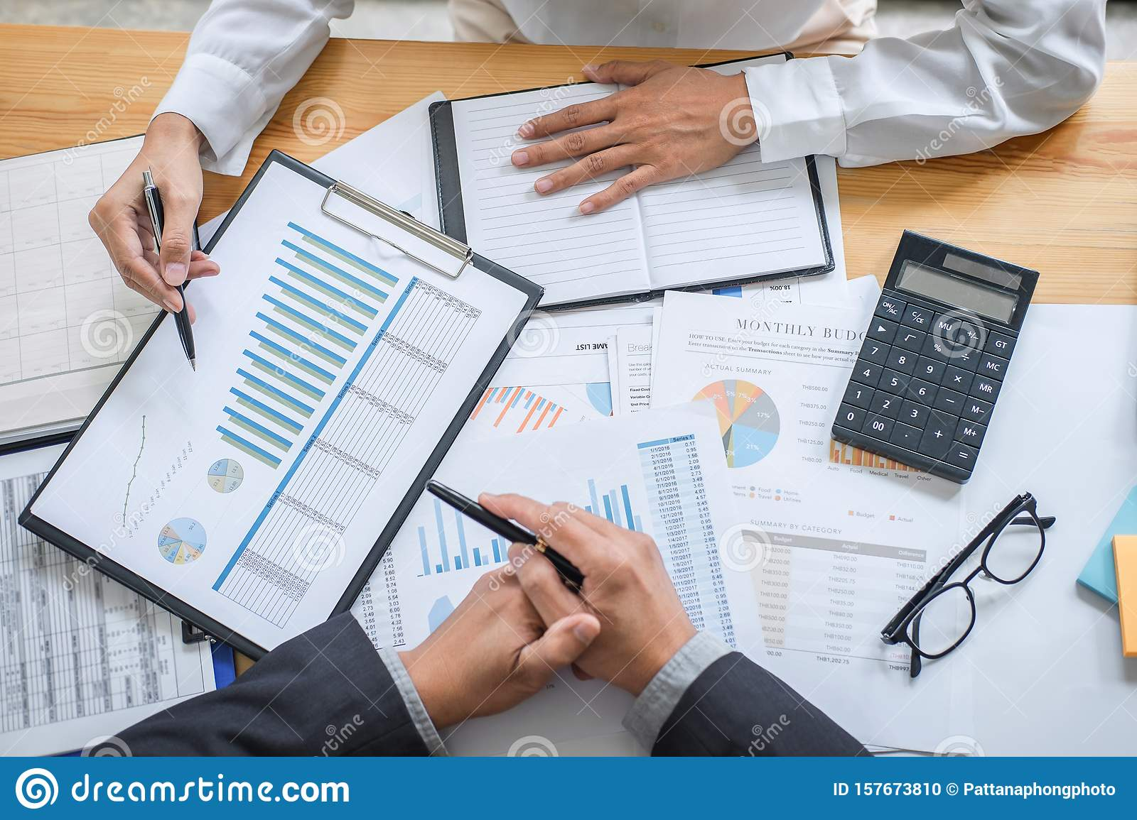 Business team consultant working with new startup growth project plan and discussion analyzing for financial strategy statistics