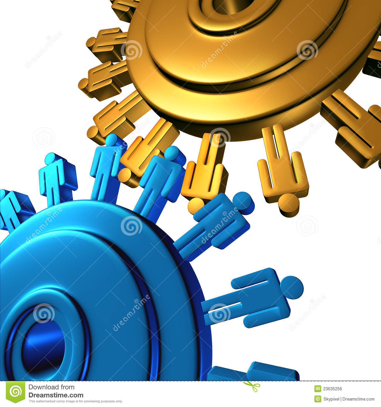 Business team cooperation with two wheels made of gears or cogs with ...