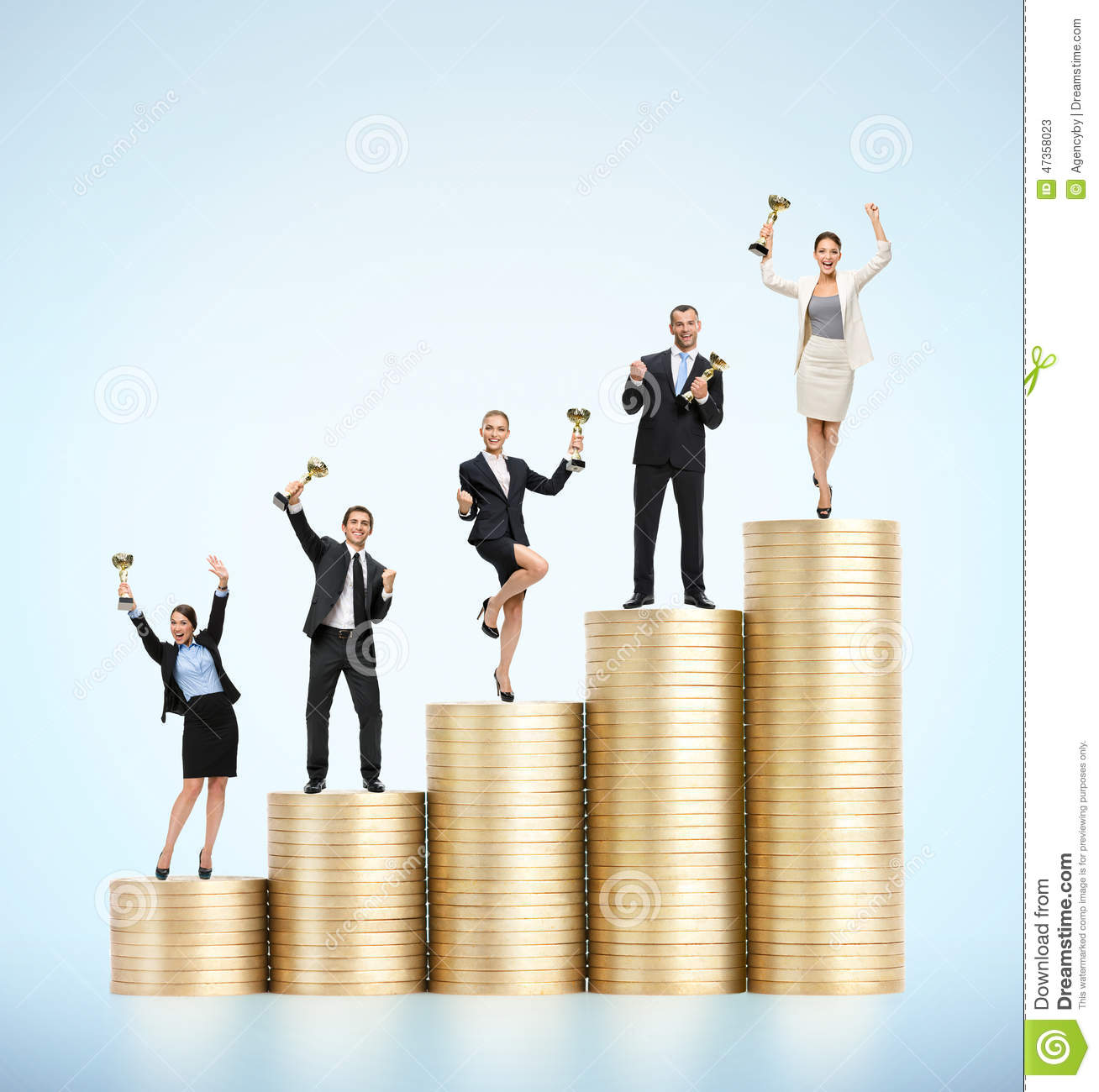 Business team with cups standing on the stairs of gold coins