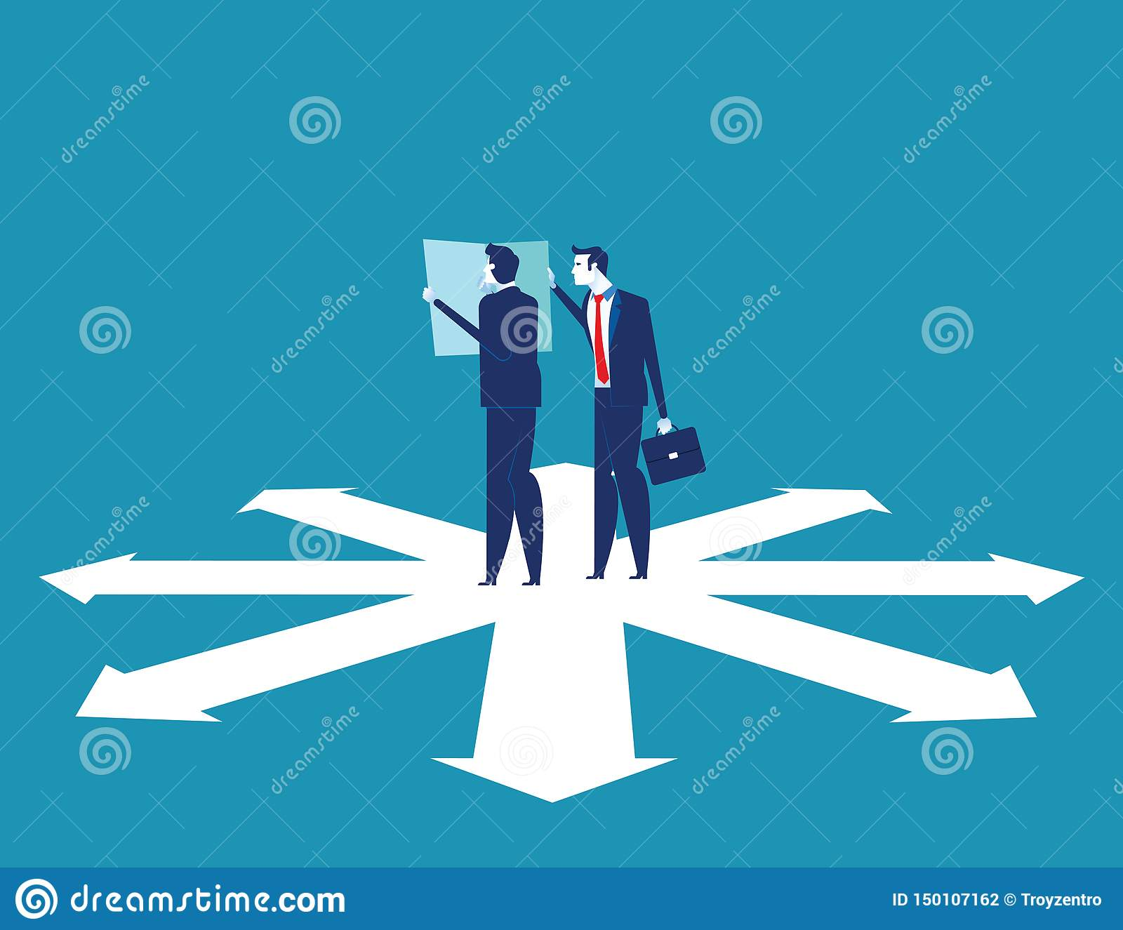 Business team are discussing on the direction to success. Concept business vector illustration