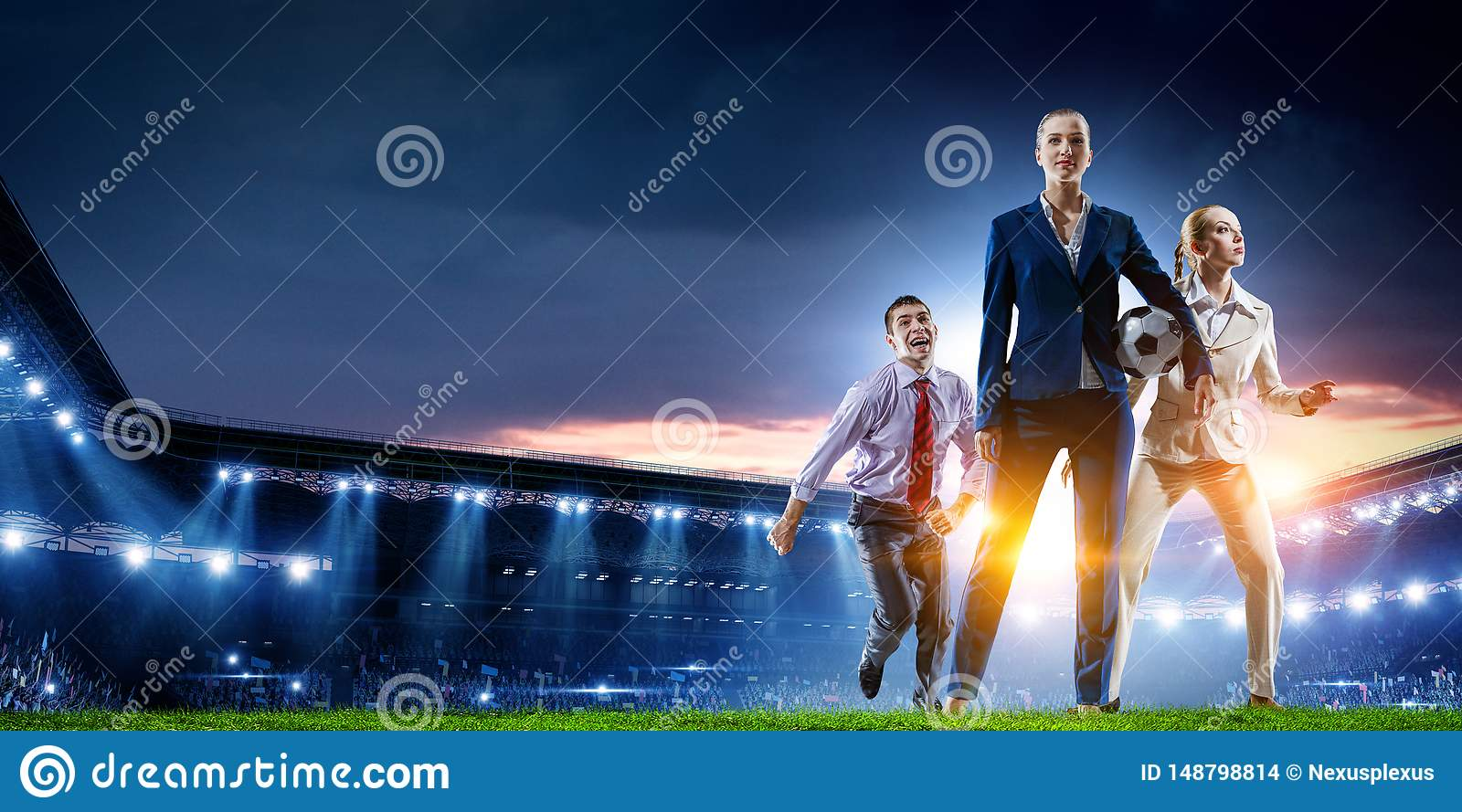 Business team on football stadium. Mixed media