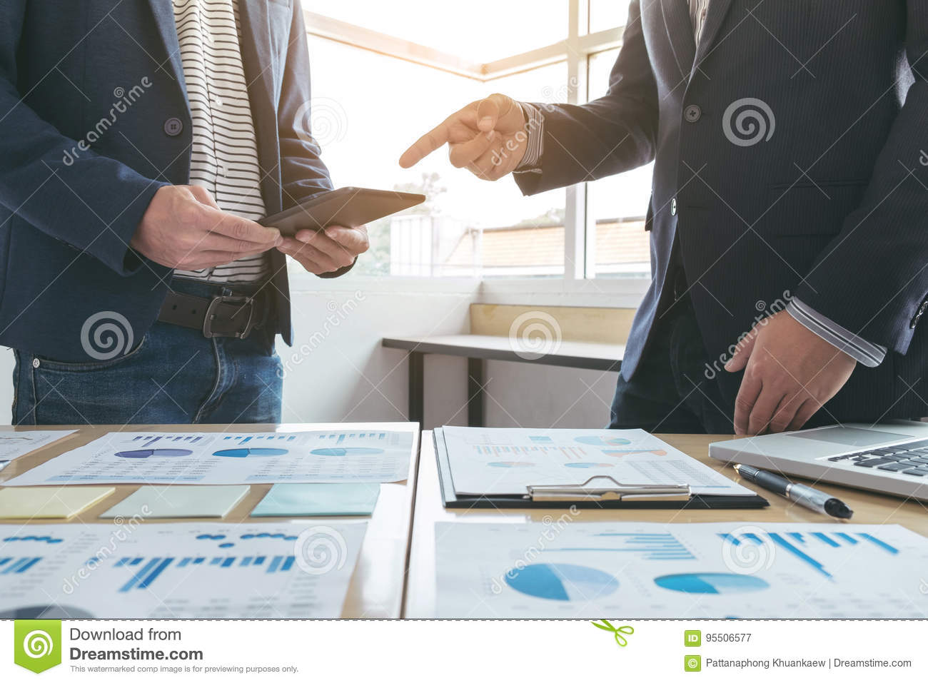 Business team meeting present. secretary presentation new idea and making report to professional investor with new finance project