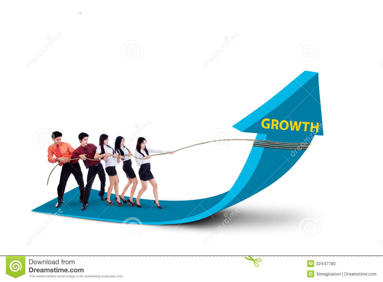 Business Team Pulling Growth Arrow Sign - Stock Photo ...