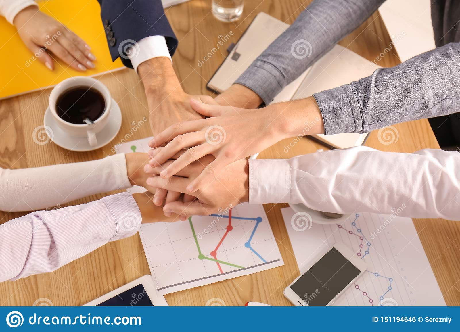 Business Team Putting Hands Together As Symbol Of Unity Stock Photo Image Of Professional Background 151194646