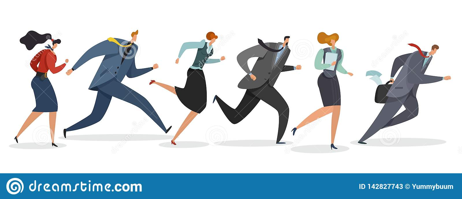Business team running. Persons waving flag and jogging follow leader to professional triumph winning illustration