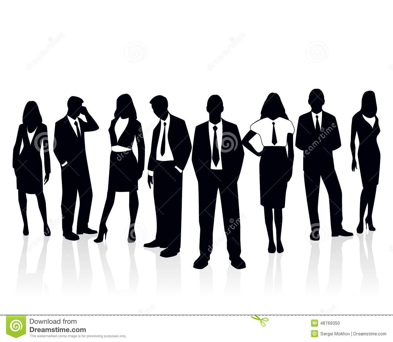 Business Team Silhouette Stock Vector Image 48769350