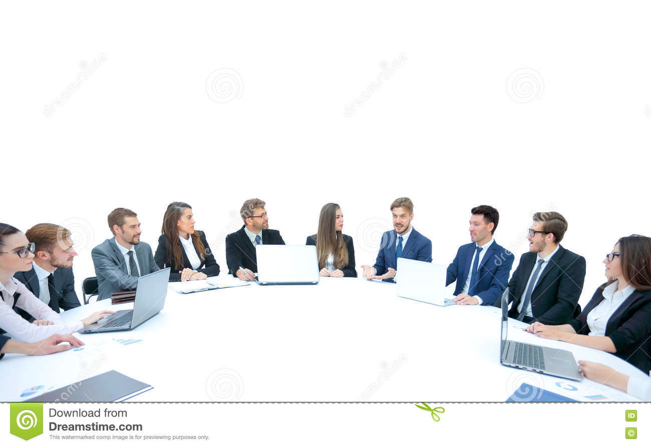 Groovy Business Team Sitting At Athe Round Table On White Interior Design Ideas Ghosoteloinfo