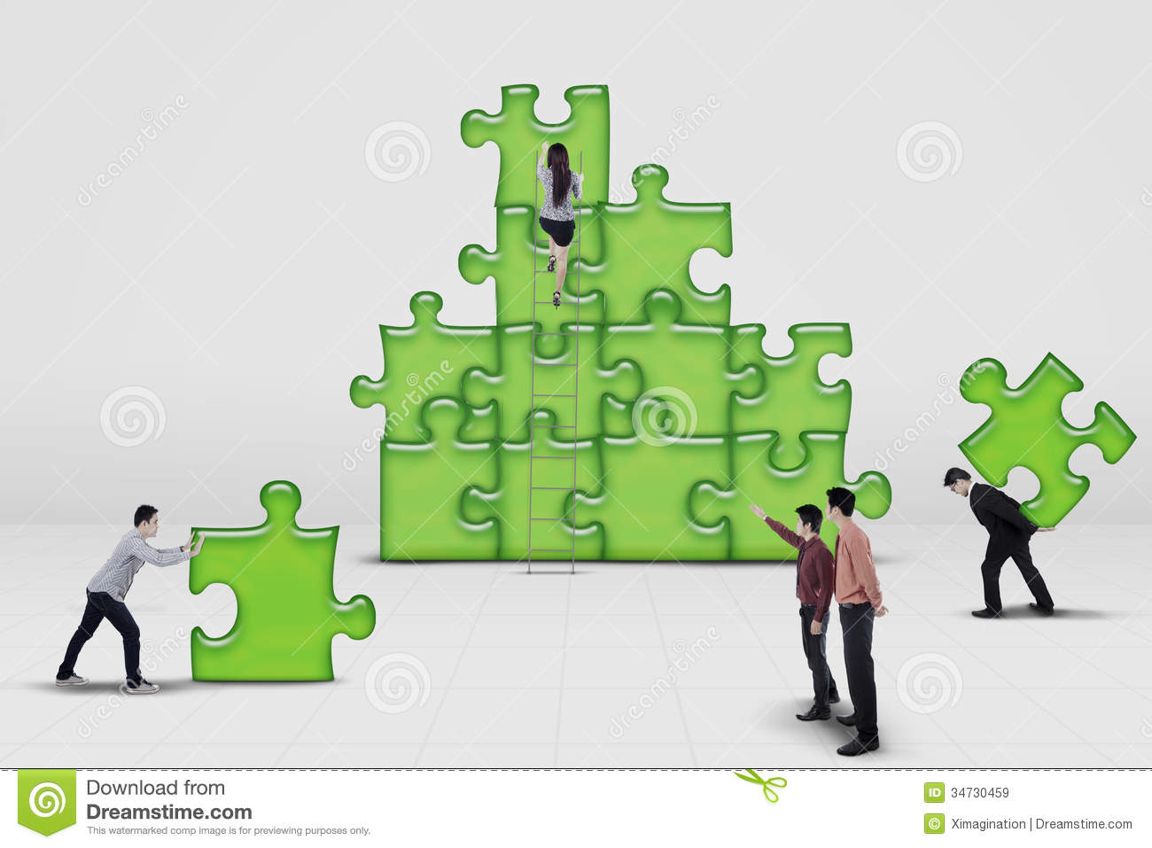 business team work building a puzzle stock image image