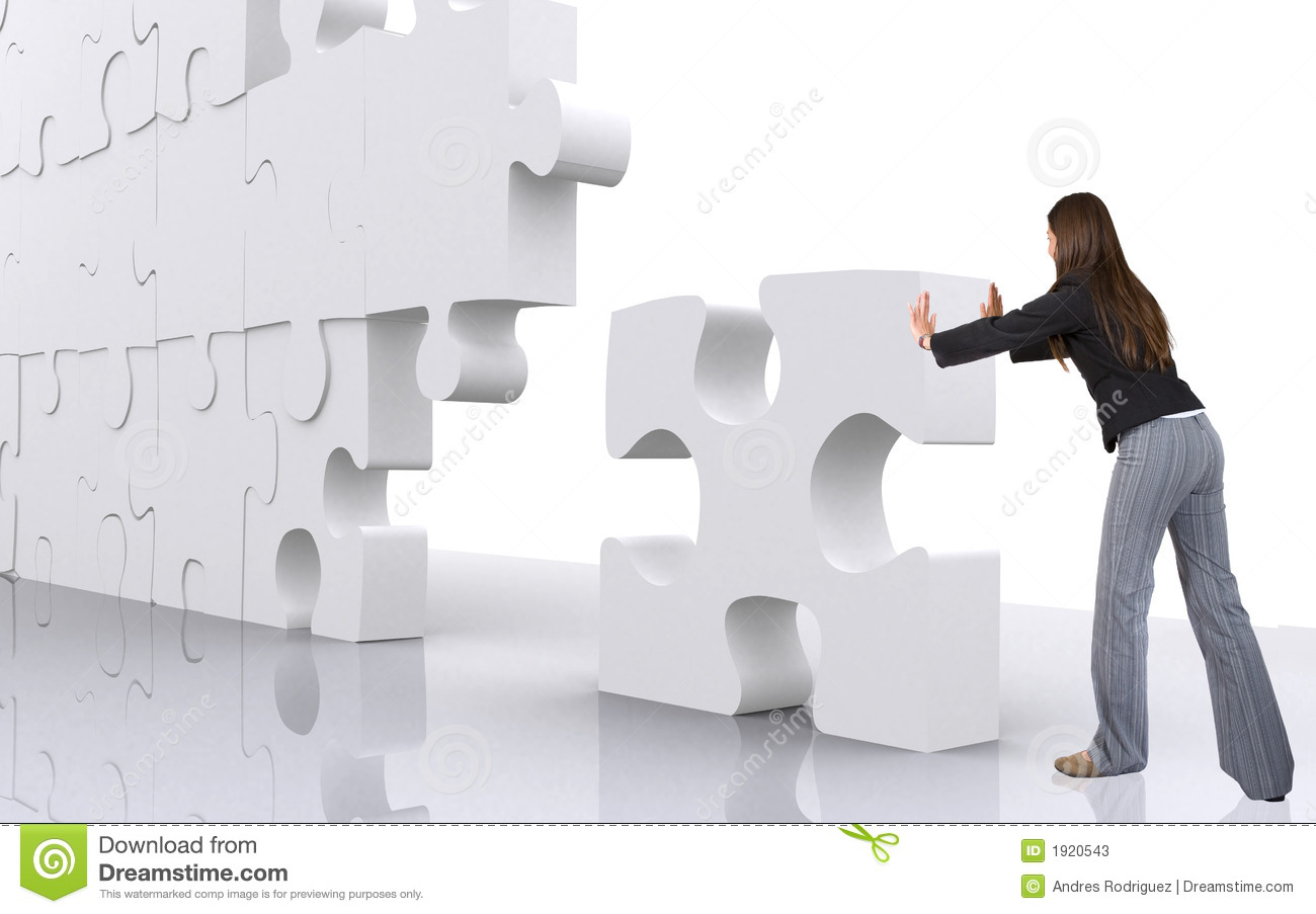 business teamwork businesswoman building a puzzle stock