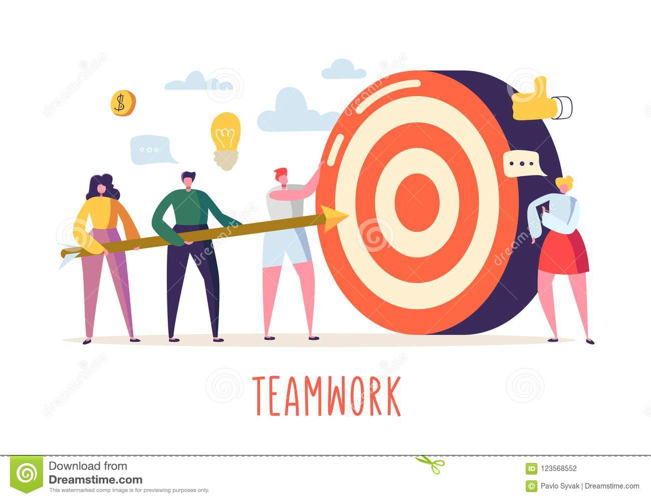 Business Teamwork Concept With Flat People Characters And Target Goal Achievement Motivation Leadership