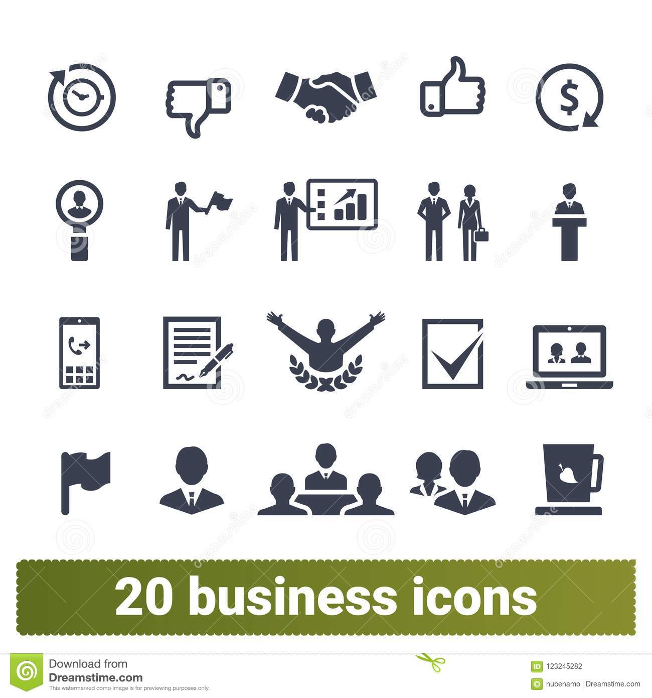 Business Management And Leadership Icons Collection