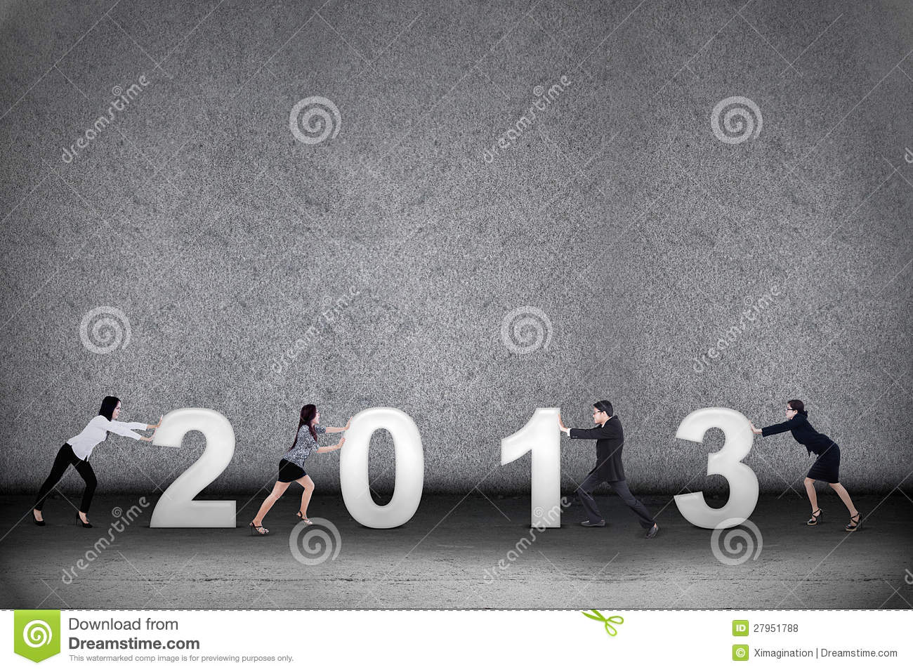 Business teamwork in new year 2013