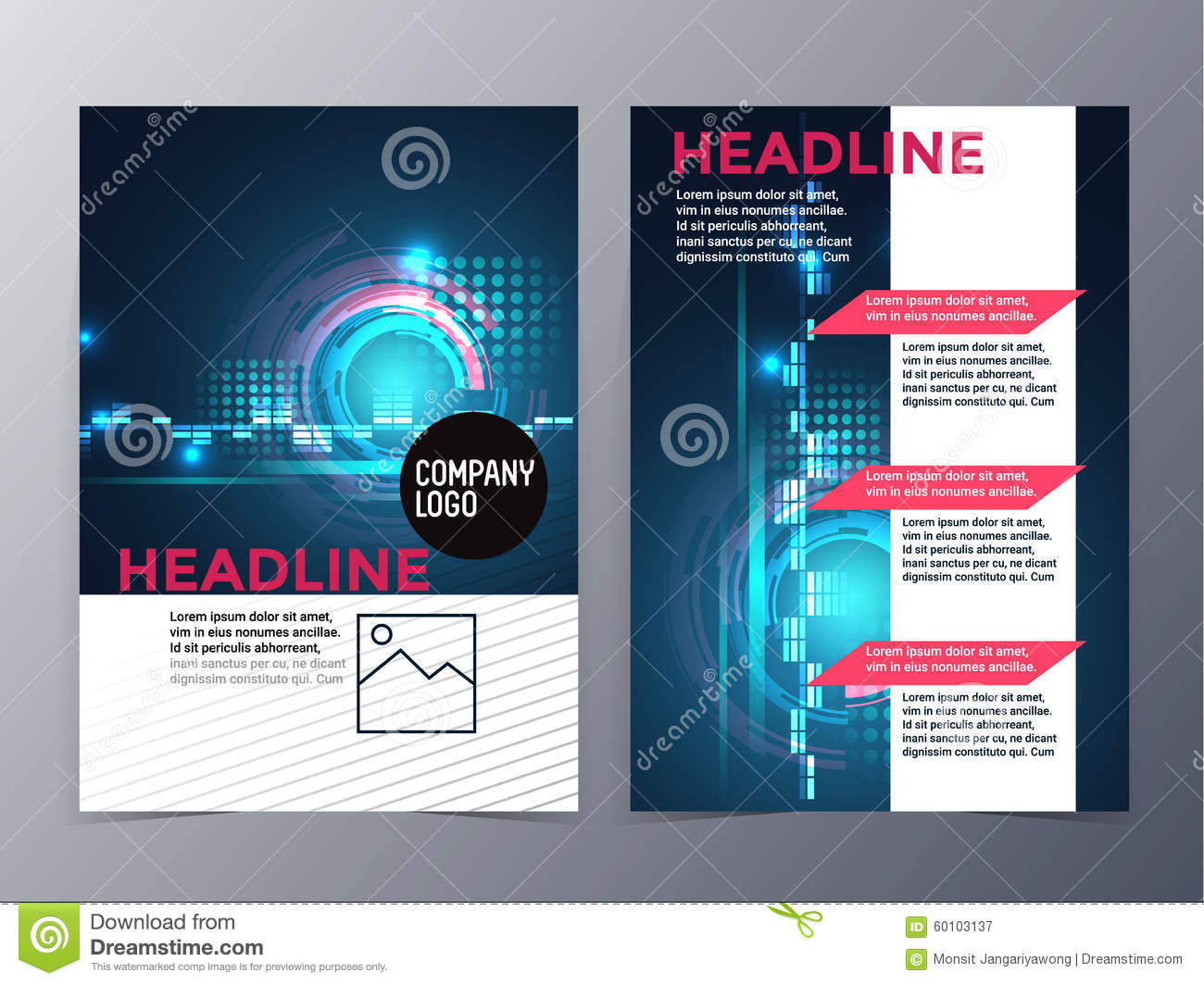 Business And Technology Brochure Design Template Vector Tri Fold