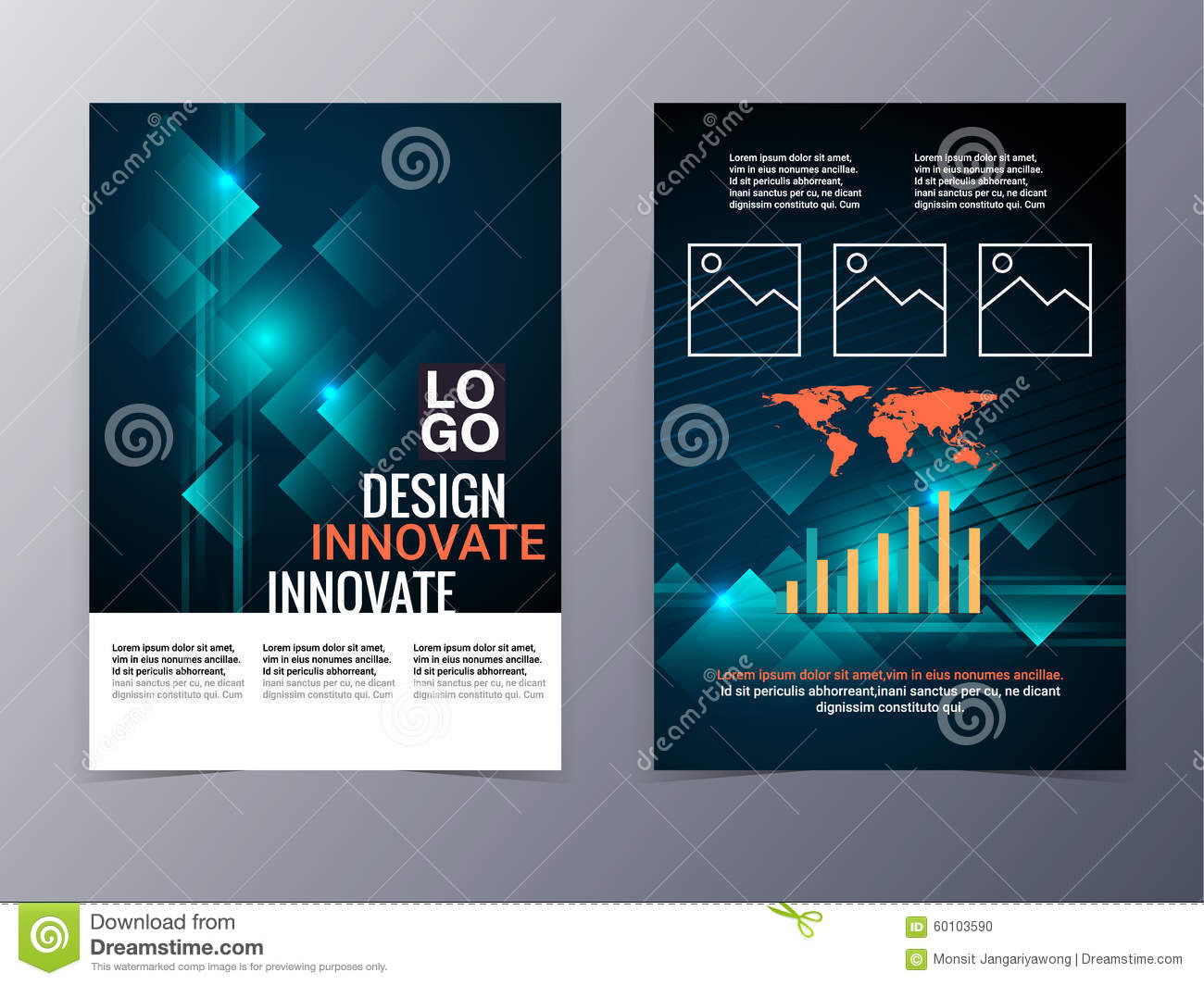 business and technology brochure design template vector