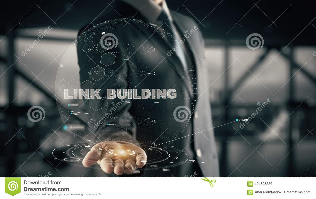 Link Building with hologram businessman concept