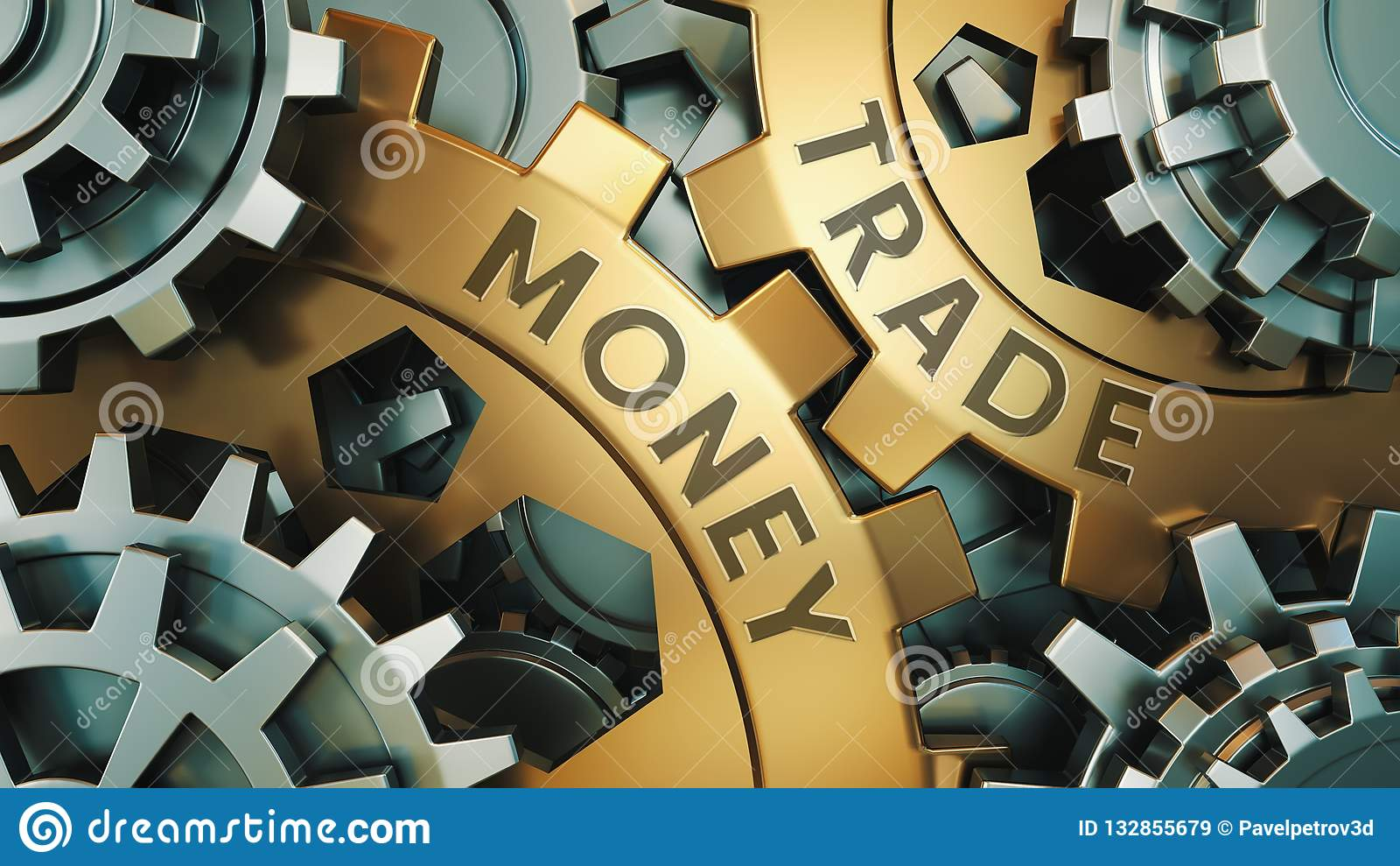 Business, Technology. Money trade concept. Gold and silver gear wheel background illustration. 3d illustration.