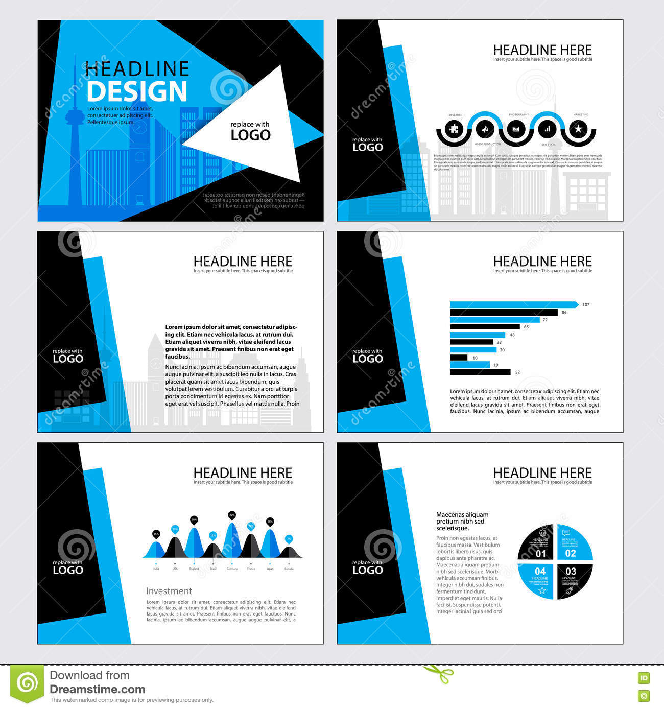 Business Template Design Set Presentation And Brochure Annual ...