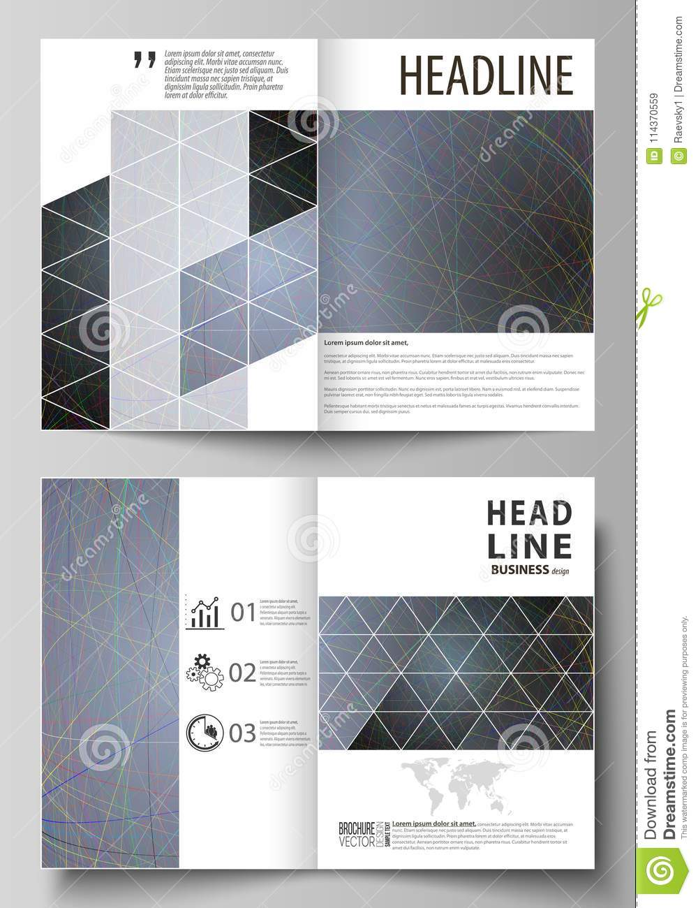 Business Templates For Bi Fold Brochure Flyer Booklet Cover Design Template Vector