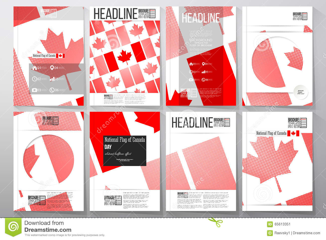 business templates for brochure flyer or booklet national flag of canada day abstract dotted. Black Bedroom Furniture Sets. Home Design Ideas
