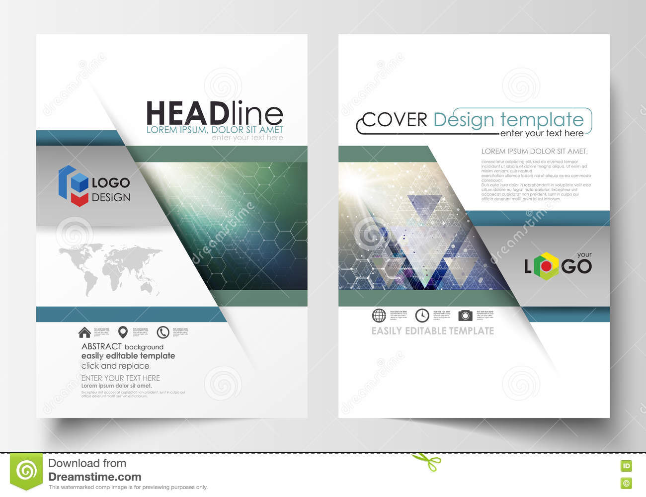 Flyer template brochure design a4 business cover vector for Brochure booklet templates