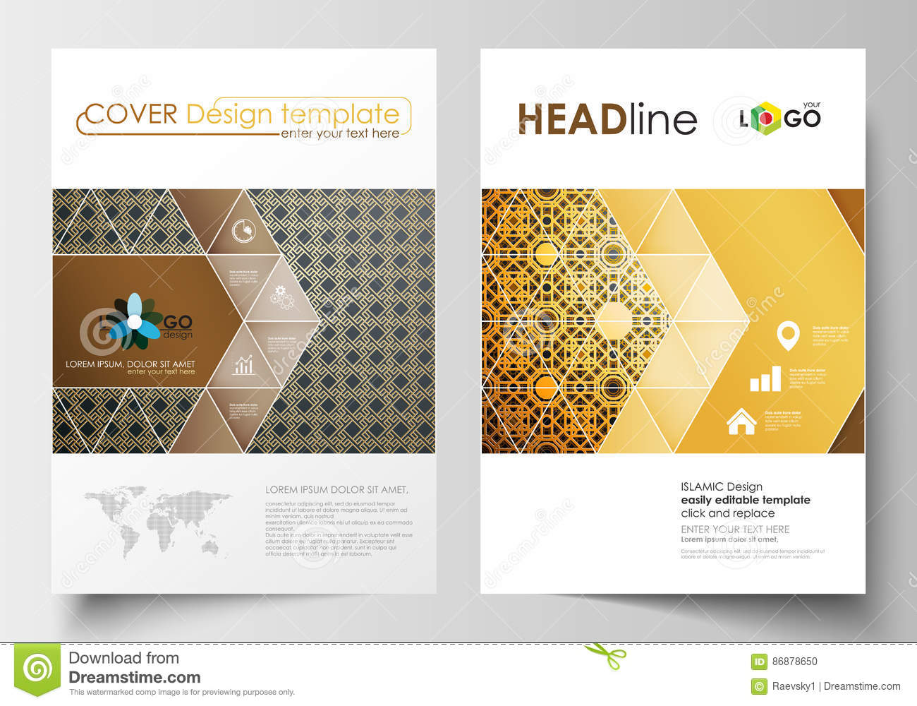 Islamic Book Cover Design Vector ~ Business templates for brochure magazine flyer cover