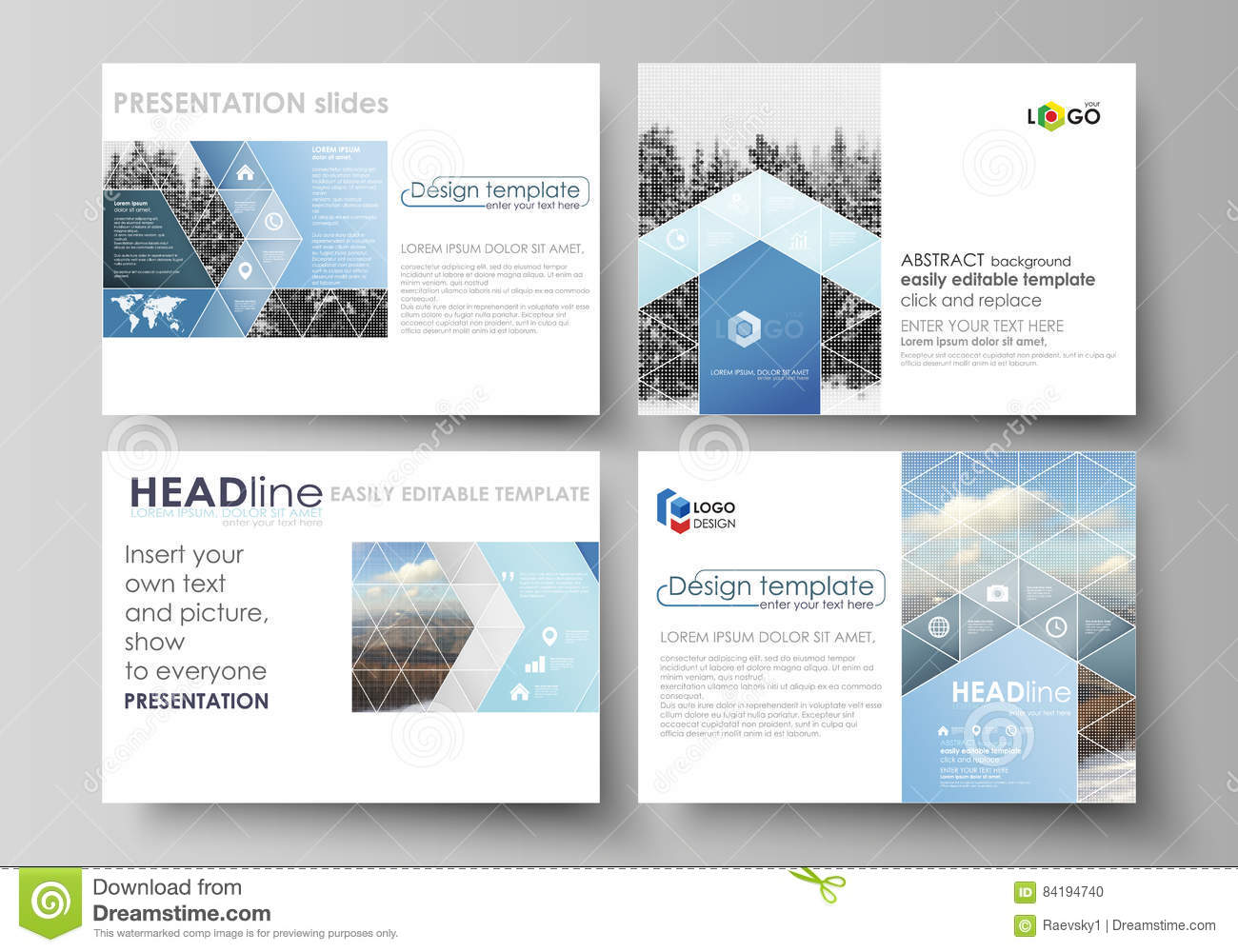 066df92b00338 Set of business templates for presentation slides. Easy editable abstract  vector layouts in flat design. Abstract landscape of nature.