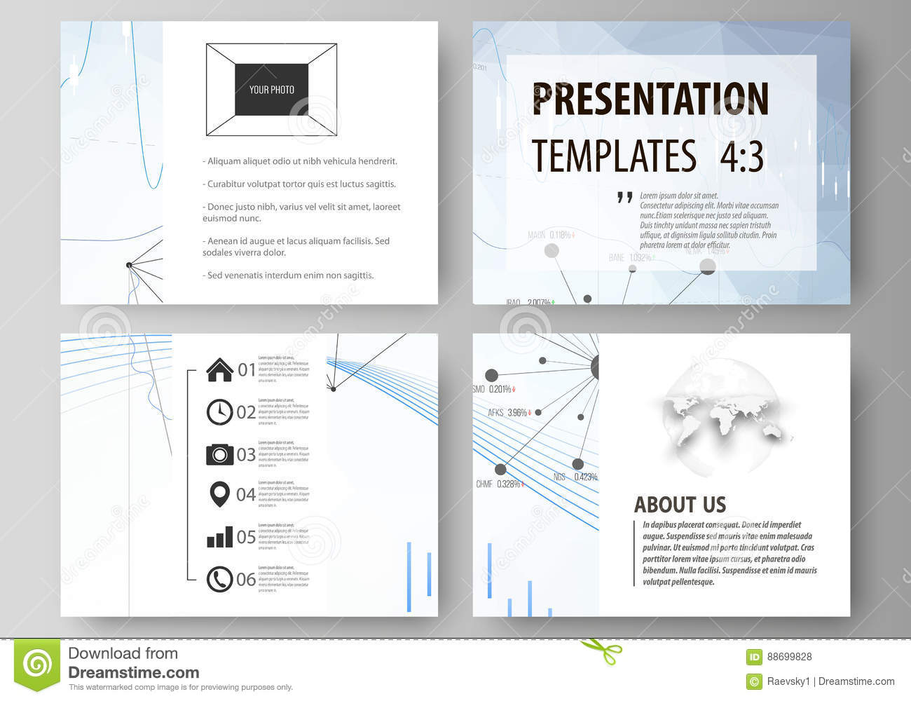 business templates for presentation slides vector layouts blue