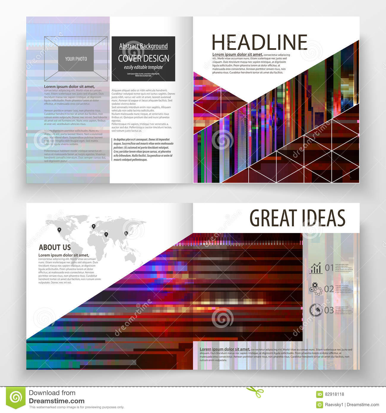 Book Cover Design Photo Elements : Glitch book cover poster template with simple geometric