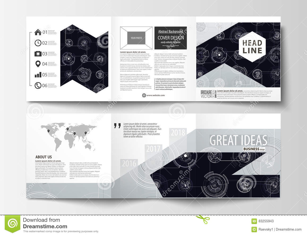 business templates for square tri fold brochures leaflet cover