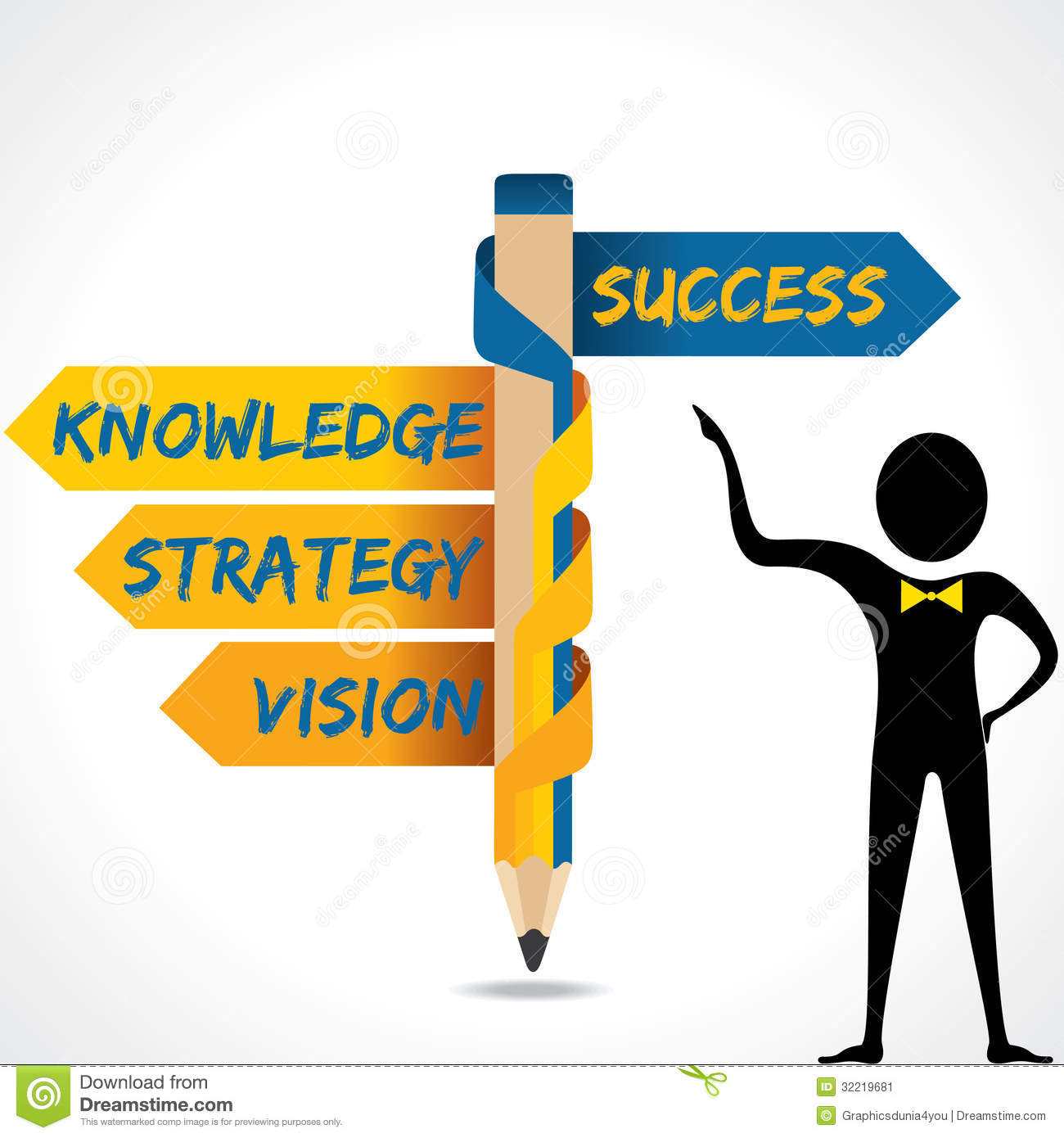 Business Texts And Success Arrow In Opposite Of Pe Stock Vector