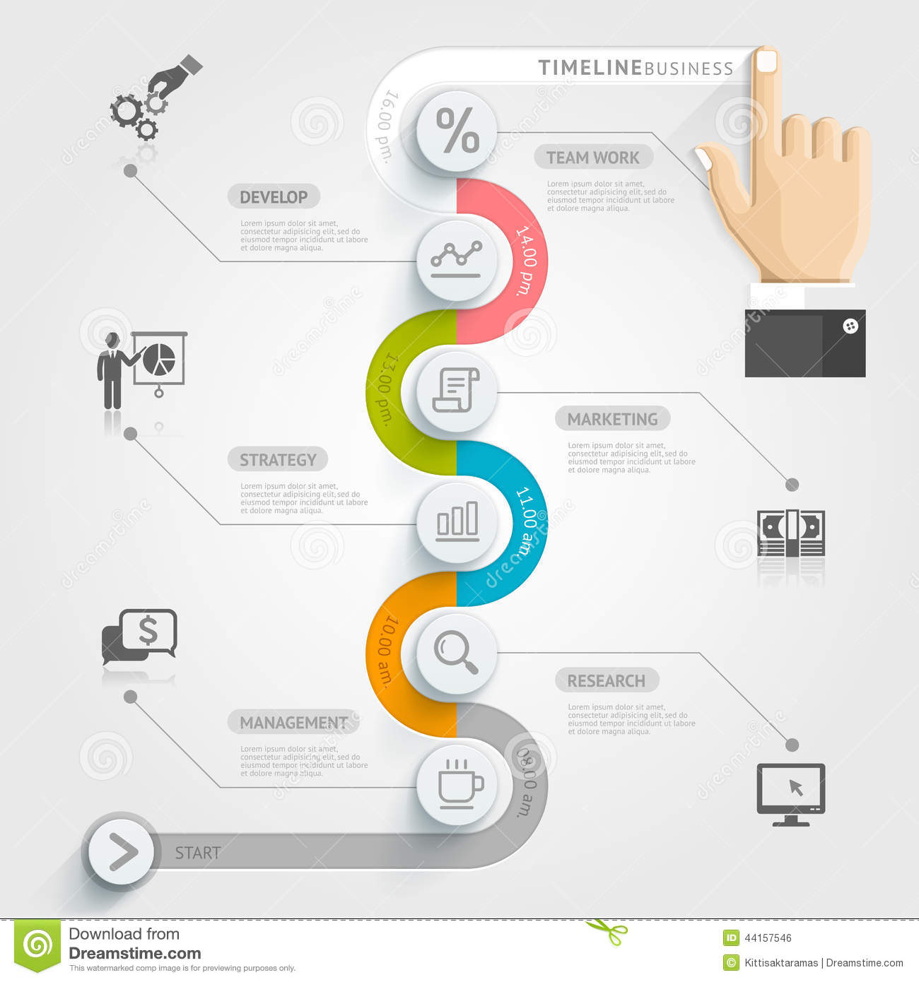 business timeline infographic template stock vector illustration