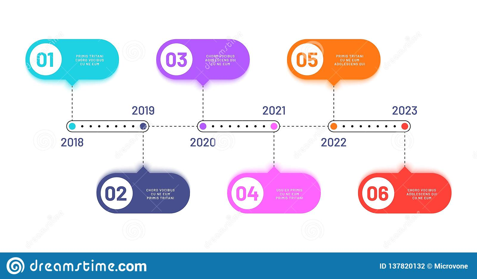 Business Timeline  6 Process Steps  Horizontal Workflow