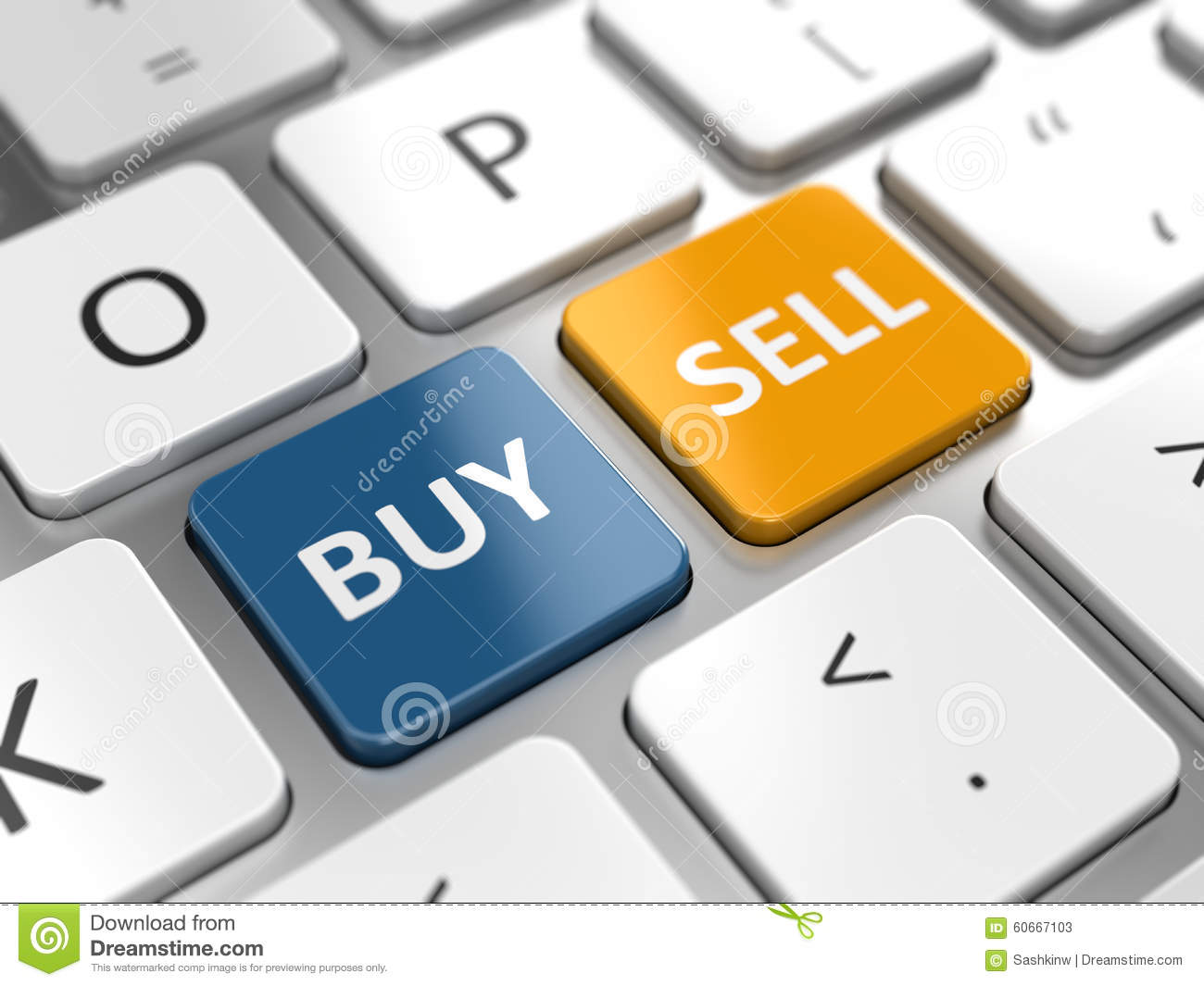 Business trade or stocks online concept - buy and sell keys.