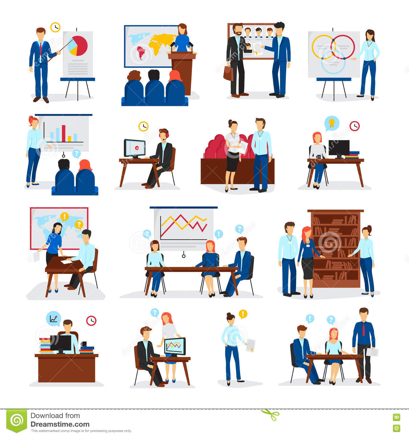 Business Training Consulting Flat Icons Set