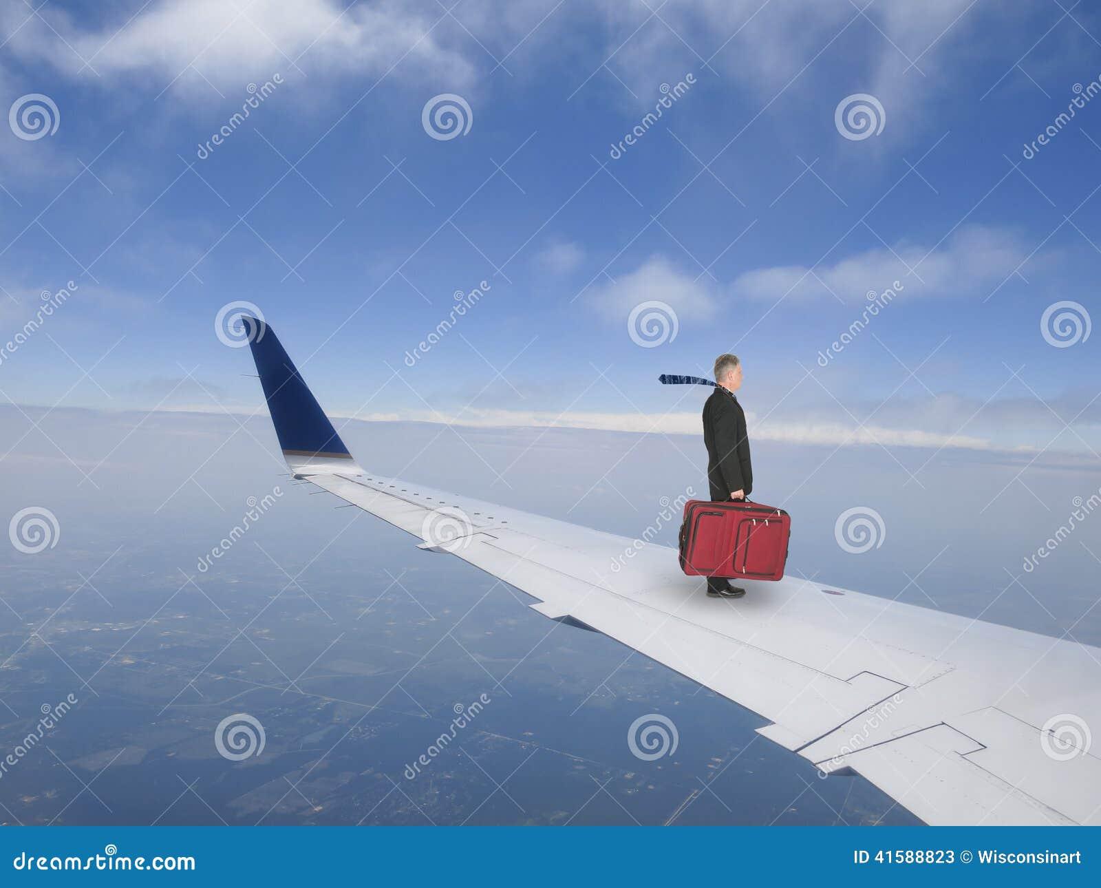 Business Travel Concept, Businessman Flying on Jet