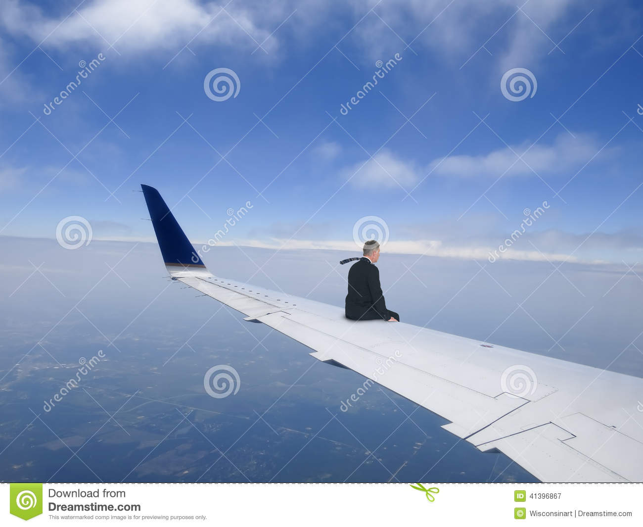 Business Travel Concept, Businessman Flying on Jet