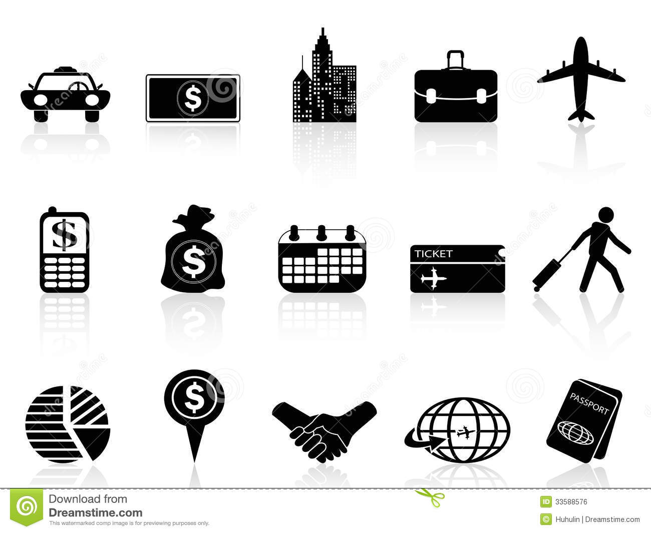 Business Travel Icons Stock Vector Illustration Of Luggage