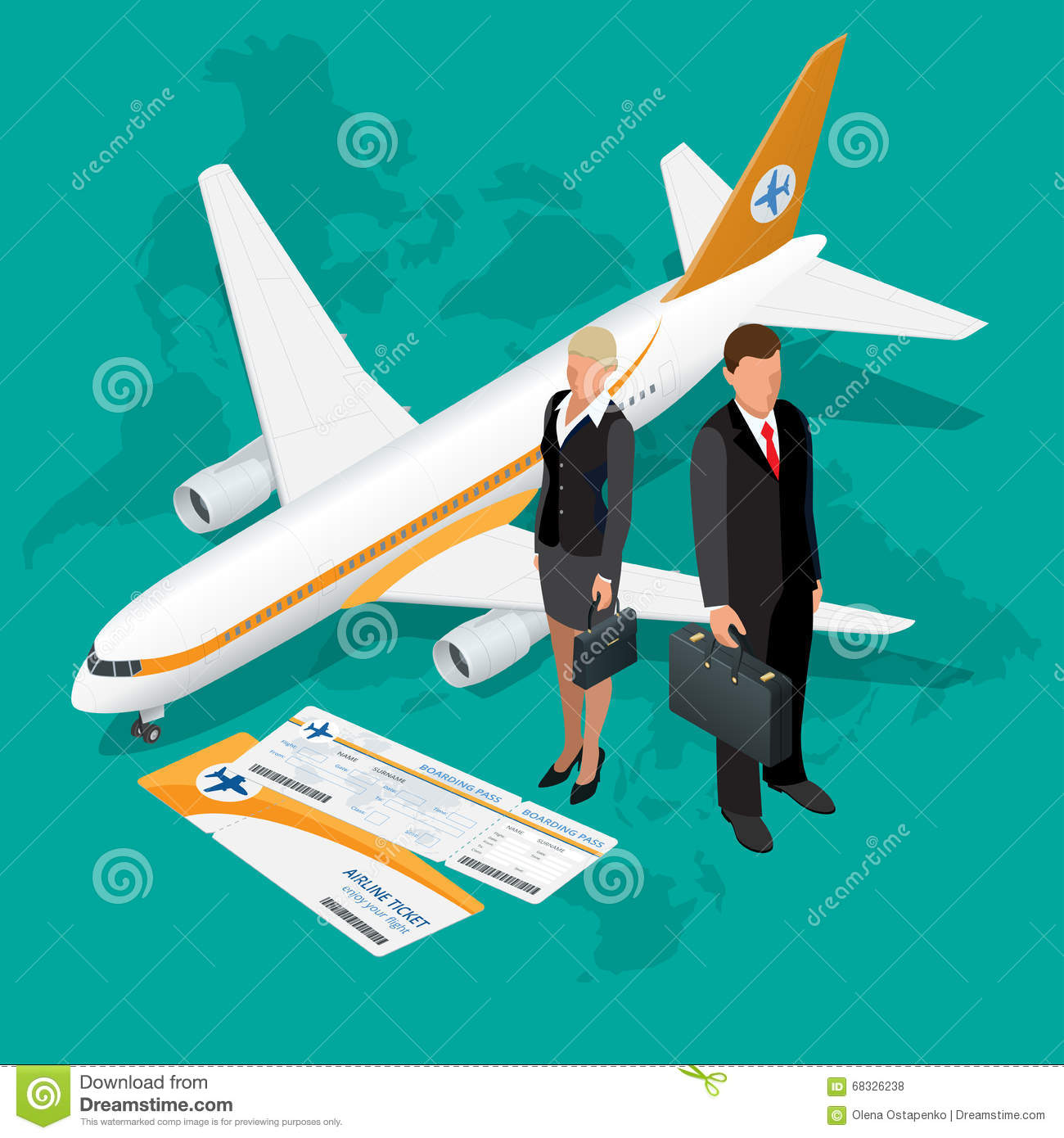 Business travel isometric composition travel and tourism for 3d flat design online